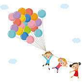 Flying child with balloons