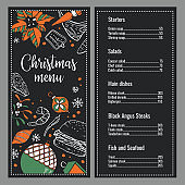Christmas menu design template. Cover with New Year decorations and food. Hand drawn color vector sketch illustration