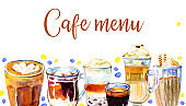 Cafe menu cover design template. Coffee drinks in a row. Watercolor hand drawn sketch illustration with glasses and mugs