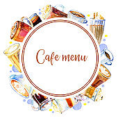 Cafe menu cover design template. Round frame  with coffee drinks. Watercolor hand drawn sketch illustration with glasses and mugs