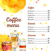 Cafe menu design template. Watercolor hand drawn sketch illustration with glasses and mugs