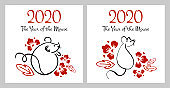 Chinese New Year 2020 two print templates. The Year of the Mouse or Rat. Vector outline hand drawn brush illustration with mice and flowers