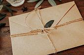 Craft Envelope on wooden background