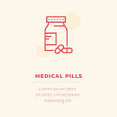 Medical Pills Vector Icon, Stock Illustration