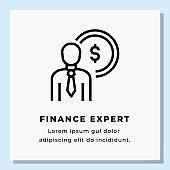 FINANCE EXPERT SINGLE ICON DESIGN. STOCK VECTOR ILLUSTRATION