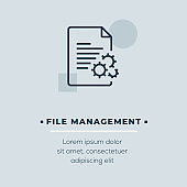 File Management Line Icon, Stock Illustration