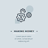 Making Money Line Icon, Stock Illustration