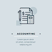 Accounting Line Icon, Stock Illustration