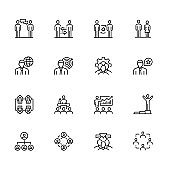 Teamwork Outline Icon Set Stock Illustration