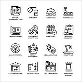 Production Management Outline Icon Set