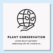 PLANT CONSERVATION SINGLE ICON DESIGN. STOCK VECTOR ILLUSTRATION