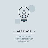 Art Class Line Icon, Stock Illustration