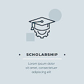 Scholarship Line Icon, Stock Illustration