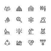 Collaboration Outline Icon Set Stock Illustration