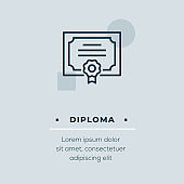 Diploma Line Icon, Stock Illustration