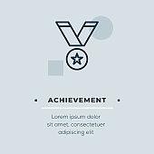 Achievement Line Icon, Stock Illustration