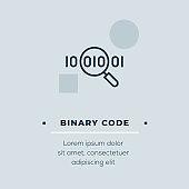 Binary Code Line Icon, Stock Illustration