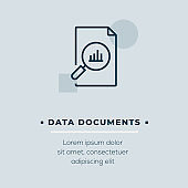 Data Documents Line Icon, Stock Illustration