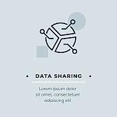 Data Sharing Line Icon, Stock Illustration