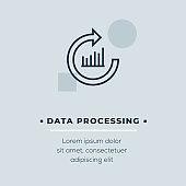 Data Processing Line Icon, Stock Illustration