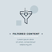 Filtered Content Line Icon, Stock Illustration