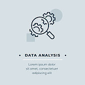 Data Analysis Line Icon, Stock Illustration