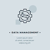 Data Management Line Icon, Stock Illustration