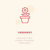 Greenery Line Icon, Stock Illustration