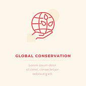 Global Conservation Line Icon, Stock Illustration