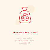 Waste Recycling Line Icon, Stock Illustration