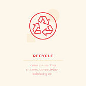 Recycle Line Icon, Stock Illustration