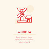 Windmill Line Icon, Stock Illustration
