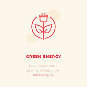 Green Energy Line Icon, Stock Illustration