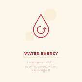 Water Energy Line Icon, Stock Illustration