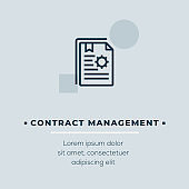 Contract Management Line Icon, Stock Illustration