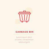 Garbage Bin Vector Icon, Stock Illustration