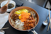 Korean rice with Tobiko egg, is orange (flying fish roe)