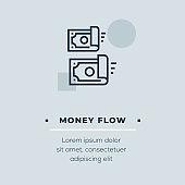 Money Flow Line Icon, Stock Illustration