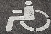 Close-up of road marking on asphalt: Parking spot for handicapped people