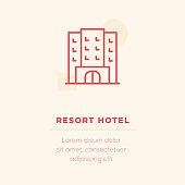 Resort Hotel Vector Icon, Stock Illustration