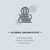 Global Knowledge Line Icon, Stock Illustration