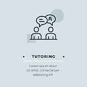 Tutoring Line Icon, Stock Illustration