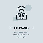 Graduation Line Icon, Stock Illustration