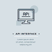 API Interface Vector Icon, Stock Illustration