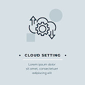 Cloud Setting Vector Icon, Stock Illustration