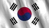 South Korea flag waving illustration. design