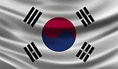 South Korea Flag . Waving vector illustration