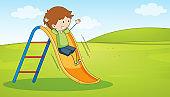 Doodle boy playing slide
