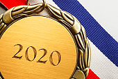 "Close Up Of Medal Engraved With ""2020"""