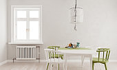 Light gray mock up wall, green white dining table and chairs with large window and radiator, Scandinavian style, 3D render, 3D illustration